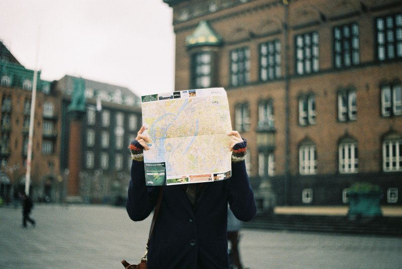 looking at map in street